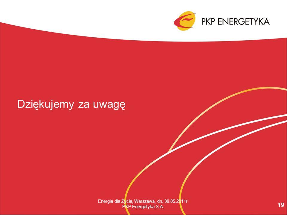 19 Energia dla Życia, Warszawa, dn. 30.05.2011r. PKP Energetyka S.A. Dziękujemy za uwagę