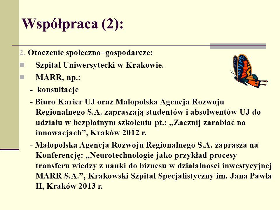 Współpraca (2): 2. Otoczenie społeczno–gospodarcze: Szpital Uniwersytecki w Krakowie. MARR, np.: - konsultacje - Biuro Karier UJ oraz Małopolska Agenc