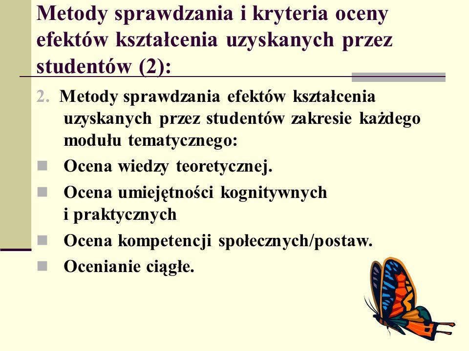 Metody sprawdzania i kryteria oceny efektów kształcenia uzyskanych przez studentów (2): 2. Metody sprawdzania efektów kształcenia uzyskanych przez stu