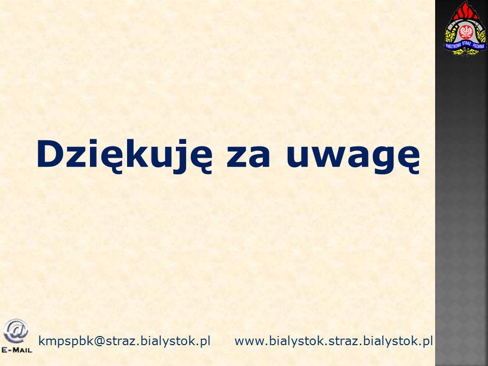 Dziękuję za uwagę kmpspbk@straz.bialystok.pl www.bialystok.straz.bialystok.pl