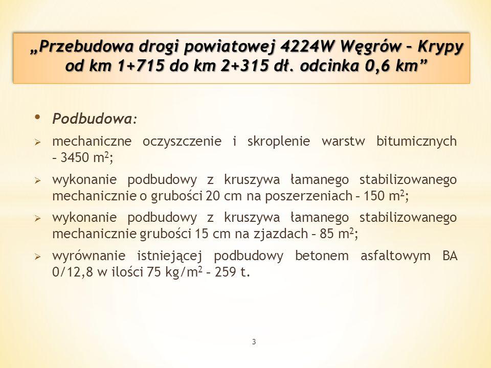 Podbudowa :  mechaniczne oczyszczenie i skroplenie warstw bitumicznych - 3450 m 2 ;  wykonanie podbudowy z kruszywa łamanego stabilizowanego mechanicznie o grubości 20 cm na poszerzeniach - 150 m 2 ;  wykonanie podbudowy z kruszywa łamanego stabilizowanego mechanicznie grubości 15 cm na zjazdach - 85 m 2 ;  wyrównanie istniejącej podbudowy betonem asfaltowym BA 0/12,8 w ilości 75 kg/m 2 - 259 t.