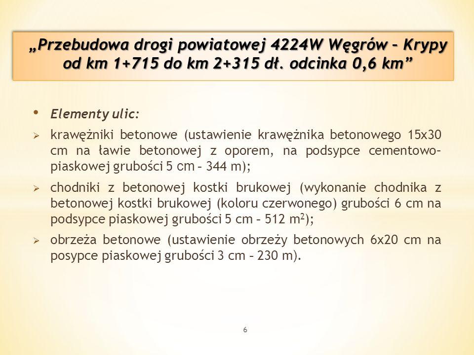 Elementy ulic:  krawężniki betonowe (ustawienie krawężnika betonowego 15x30 cm na ławie betonowej z oporem, na podsypce cementowo– piaskowej grubości 5 cm - 344 m);  chodniki z betonowej kostki brukowej (wykonanie chodnika z betonowej kostki brukowej (koloru czerwonego) grubości 6 cm na podsypce piaskowej grubości 5 cm - 512 m 2 );  obrzeża betonowe (ustawienie obrzeży betonowych 6x20 cm na posypce piaskowej grubości 3 cm - 230 m ).