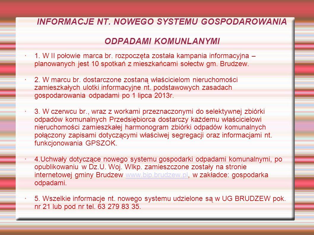INFORMACJE NT. NOWEGO SYSTEMU GOSPODAROWANIA ODPADAMI KOMUNLANYMI 1.