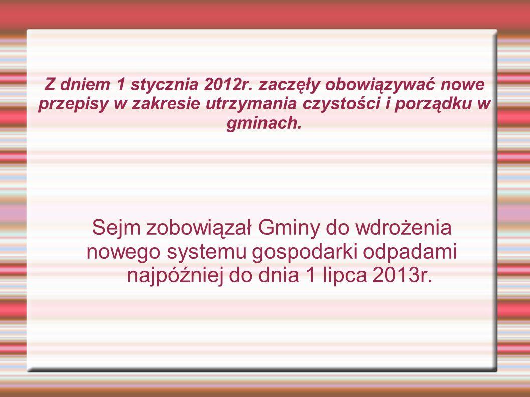 Dotychczasowy system gospodarowania odpadami Właściciel nieruchomości Umowa, Odpady, Opłata (za pojemnik) Przedsiębiorca (zezwolenie) GMINA Instalacje odzysku/unieszkodliwiania