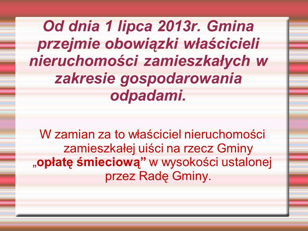 """OPŁATA """"ŚMIECIOWA W dniu 31 stycznia 2013r."""