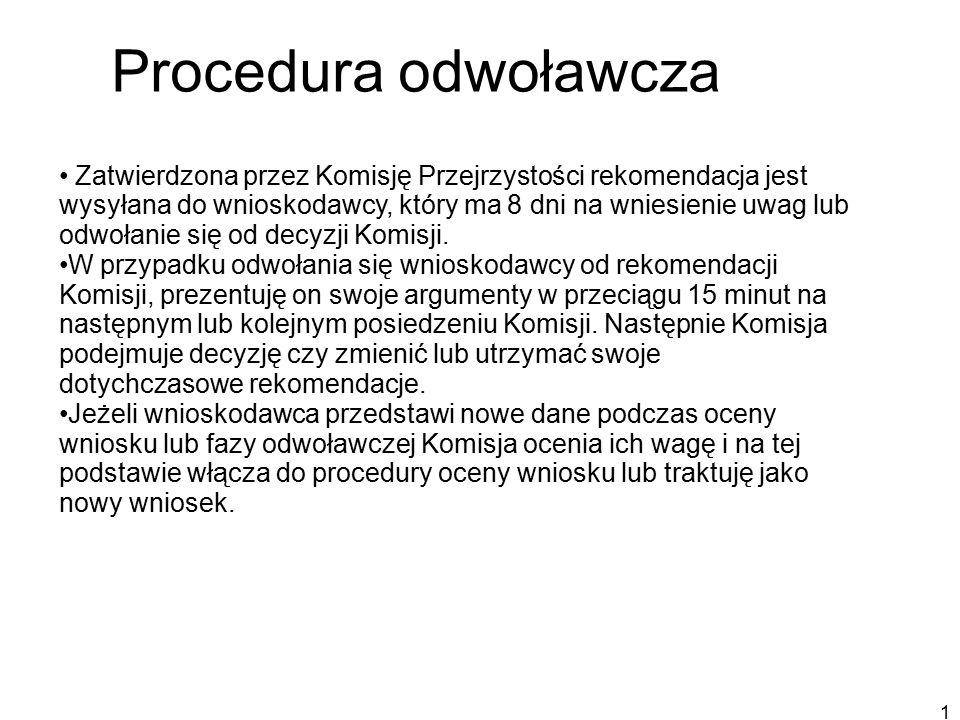18 Procedura odwoławcza Zatwierdzona przez Komisję Przejrzystości rekomendacja jest wysyłana do wnioskodawcy, który ma 8 dni na wniesienie uwag lub odwołanie się od decyzji Komisji.
