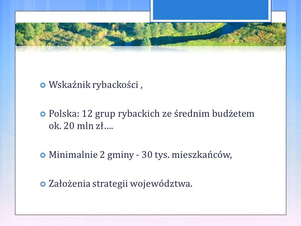  Wskaźnik rybackości,  Polska: 12 grup rybackich ze średnim budżetem ok.