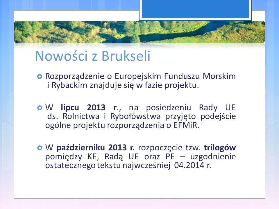 Nowości z Brukseli  Rozporządzenie o Europejskim Funduszu Morskim i Rybackim znajduje się w fazie projektu.