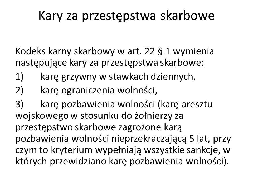 Kary za przestępstwa skarbowe Kodeks karny skarbowy w art.