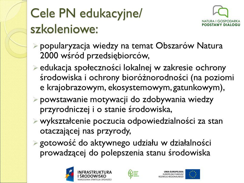 Cele PN edukacyjne/ szkoleniowe:  popularyzacja wiedzy na temat Obszarów Natura 2000 wśród przedsiębiorców,  edukacja społeczności lokalnej w zakresie ochrony środowiska i ochrony bioróżnorodności (na poziomi e krajobrazowym, ekosystemowym, gatunkowym),  powstawanie motywacji do zdobywania wiedzy przyrodniczej i o stanie środowiska,  wykształcenie poczucia odpowiedzialności za stan otaczającej nas przyrody,  gotowość do aktywnego udziału w działalności prowadzącej do polepszenia stanu środowiska