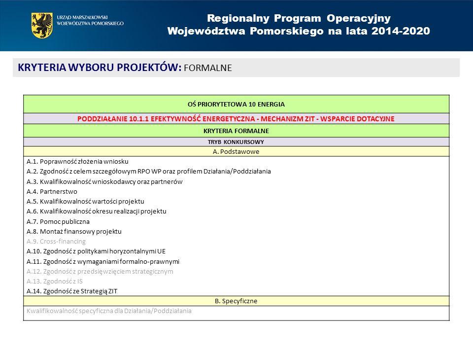 Regionalny Program Operacyjny Województwa Pomorskiego na lata 2014-2020 KRYTERIA WYBORU PROJEKTÓW: FORMALNE OŚ PRIORYTETOWA 10 ENERGIA PODDZIAŁANIE 10.1.1 EFEKTYWNOŚĆ ENERGETYCZNA - MECHANIZM ZIT - WSPARCIE DOTACYJNE KRYTERIA FORMALNE TRYB KONKURSOWY A.