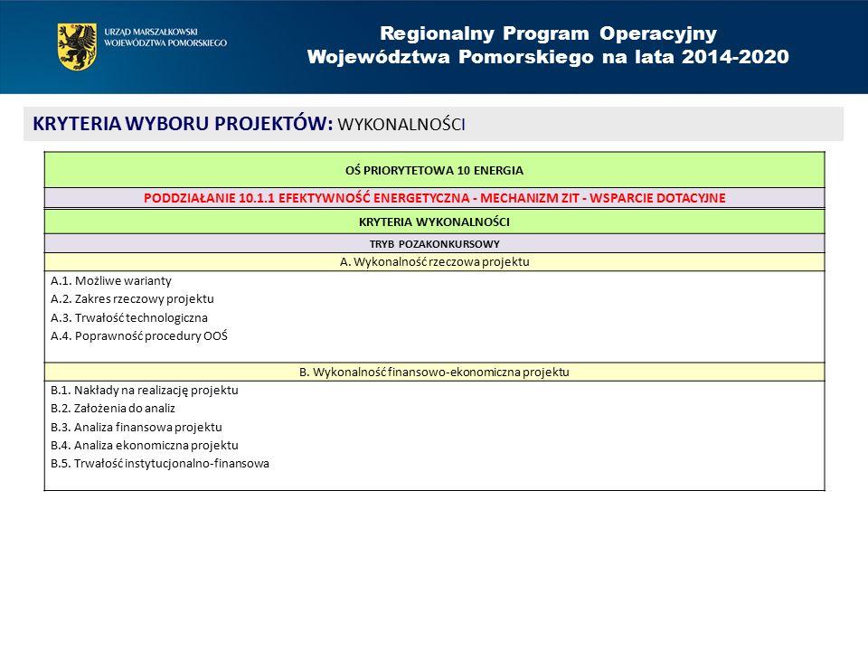 Regionalny Program Operacyjny Województwa Pomorskiego na lata 2014-2020 KRYTERIA WYBORU PROJEKTÓW: WYKONALNOŚCI KRYTERIA WYKONALNOŚCI TRYB POZAKONKURSOWY A.