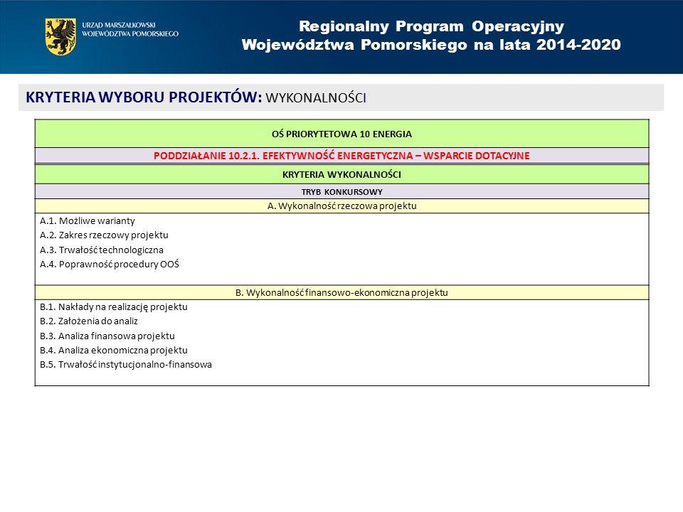 Regionalny Program Operacyjny Województwa Pomorskiego na lata 2014-2020 KRYTERIA WYBORU PROJEKTÓW: STRATEGICZNE I STOPNIA KRYTERIA STRATEGICZNE I STOPNIA TRYB KONKURSOWY A.