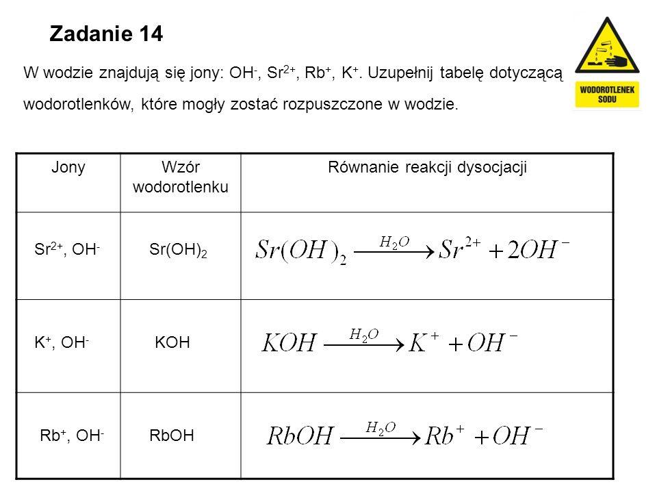 Zadanie 14 W wodzie znajdują się jony: OH -, Sr 2+, Rb +, K +. Uzupełnij tabelę dotyczącą wodorotlenków, które mogły zostać rozpuszczone w wodzie. Jon