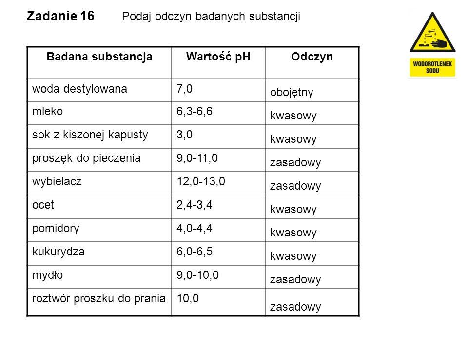 Zadanie 16 Podaj odczyn badanych substancji Badana substancjaWartość pHOdczyn woda destylowana7,0 mleko6,3-6,6 sok z kiszonej kapusty3,0 proszęk do pi