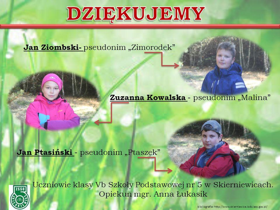 """Jan Ziombski- pseudonim """"Zimorodek Zuzanna Kowalska - pseudonim """"Malina Jan Ptasiński - pseudonim """"Ptaszek Uczniowie klasy Vb Szkoły Podstawowej nr 5 w Skierniewicach."""
