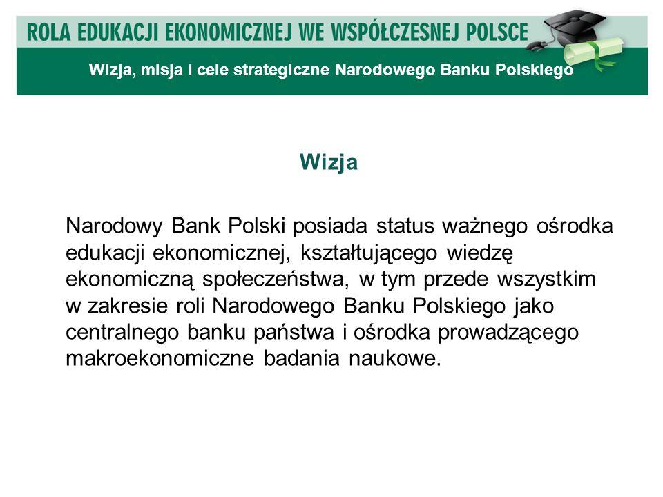 Wizja Narodowy Bank Polski posiada status ważnego ośrodka edukacji ekonomicznej, kształtującego wiedzę ekonomiczną społeczeństwa, w tym przede wszystkim w zakresie roli Narodowego Banku Polskiego jako centralnego banku państwa i ośrodka prowadzącego makroekonomiczne badania naukowe.