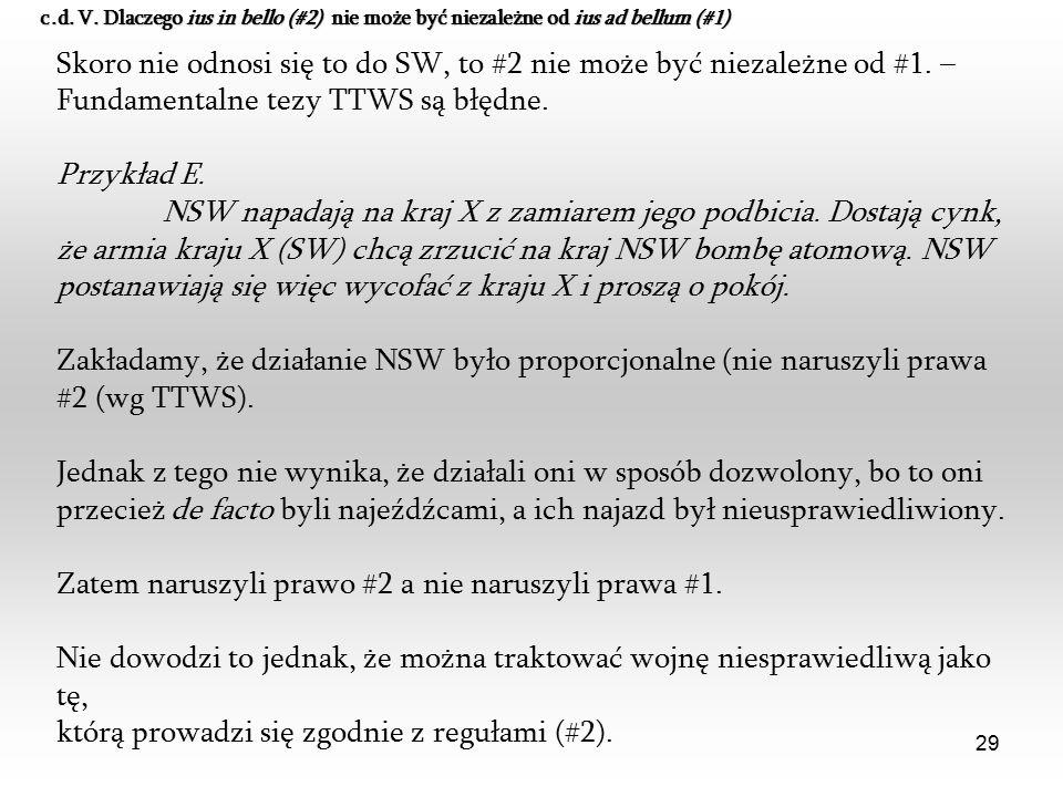 29 Skoro nie odnosi się to do SW, to #2 nie może być niezależne od #1. – Fundamentalne tezy TTWS są błędne. Przykład E. NSW napadają na kraj X z zamia