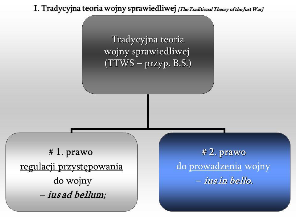 3 Tradycyjna teoria wojny sprawiedliwej (TTWS – przyp. B.S.) # 1. prawo regulacji przystępowania do wojny ius ad bellum – ius ad bellum; # 2. prawo do