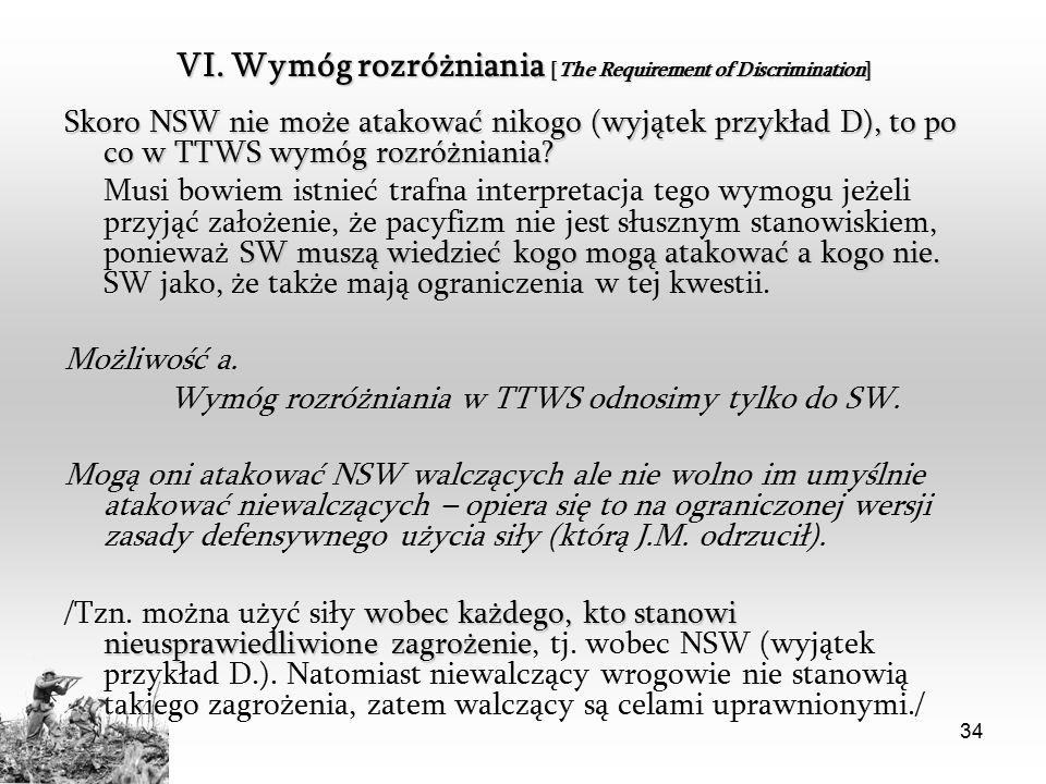 34 VI. Wymóg rozróżniania [The Requirement of Discrimination] Skoro NSW nie może atakować nikogo (wyjątek przykład D), to po co w TTWS wymóg rozróżnia
