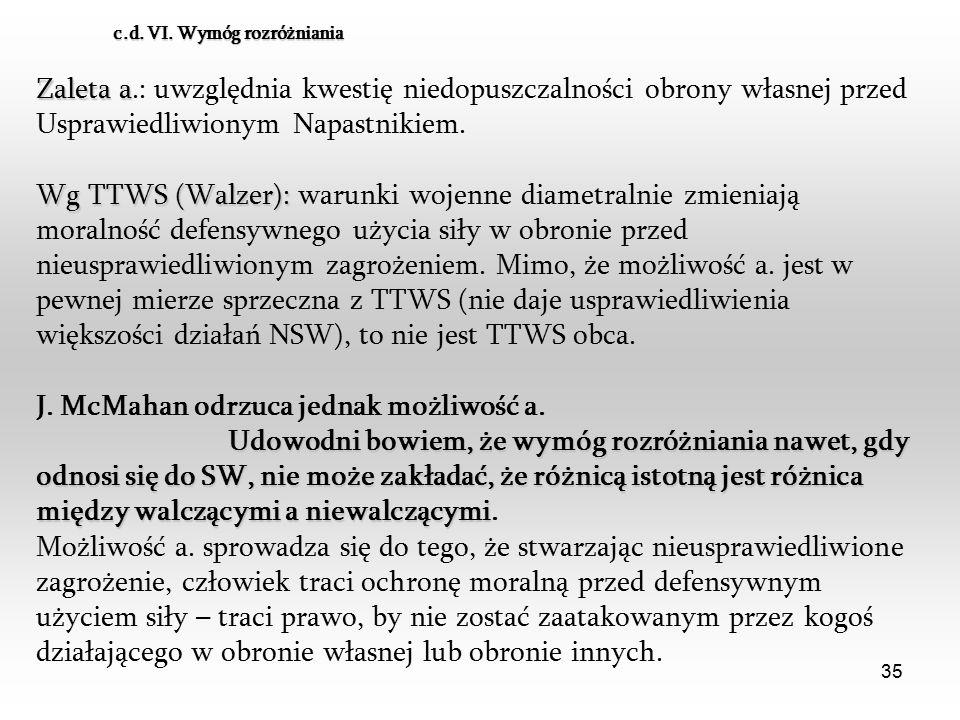 35 Zaleta a Zaleta a.: uwzględnia kwestię niedopuszczalności obrony własnej przed Usprawiedliwionym Napastnikiem. Wg TTWS (Walzer): Wg TTWS (Walzer):