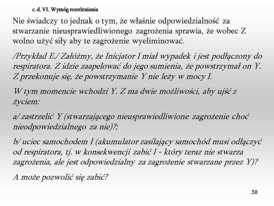 38 c.d. VI. Wymóg rozróżniania Nie świadczy to jednak o tym, że właśnie odpowiedzialność za stwarzanie nieusprawiedliwionego zagrożenia sprawia, że wo