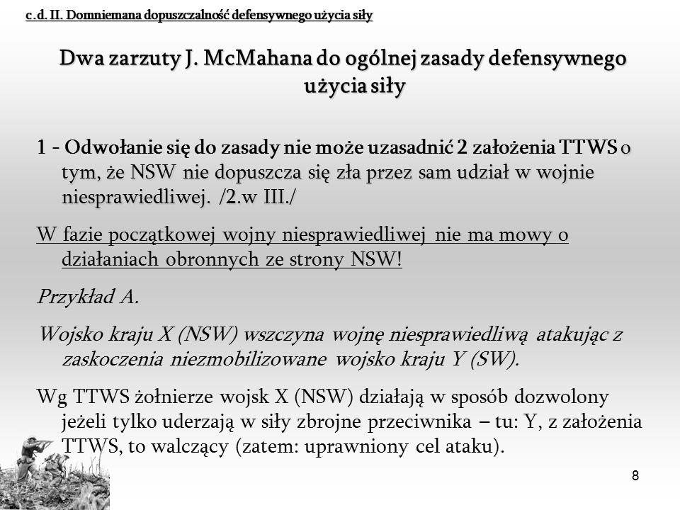 8 Dwa zarzuty J. McMahana do ogólnej zasady defensywnego użycia siły o tym, że NSW nie dopuszcza się zła przez sam udział w wojnie niesprawiedliwej. /