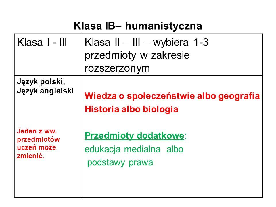 Klasa IB– humanistyczna Klasa I - IIIKlasa II – III – wybiera 1-3 przedmioty w zakresie rozszerzonym Język polski, Język angielski Jeden z ww.