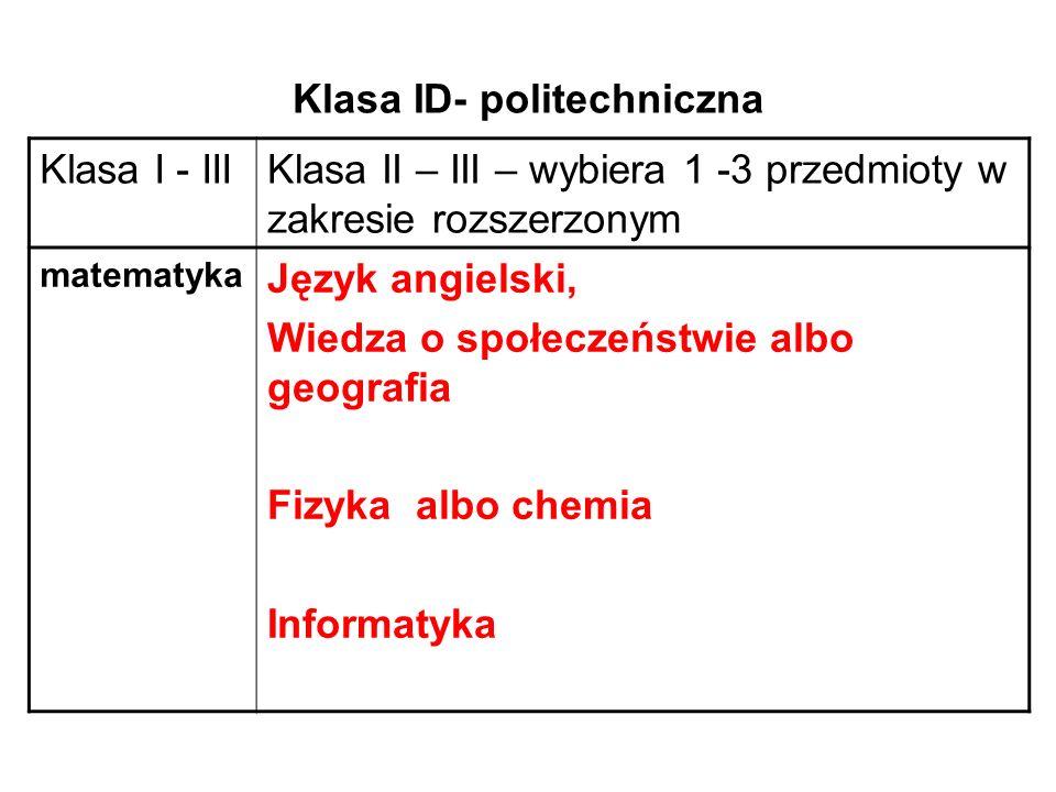 Klasa ID- politechniczna Klasa I - IIIKlasa II – III – wybiera 1 -3 przedmioty w zakresie rozszerzonym matematyka Język angielski, Wiedza o społeczeństwie albo geografia Fizyka albo chemia Informatyka