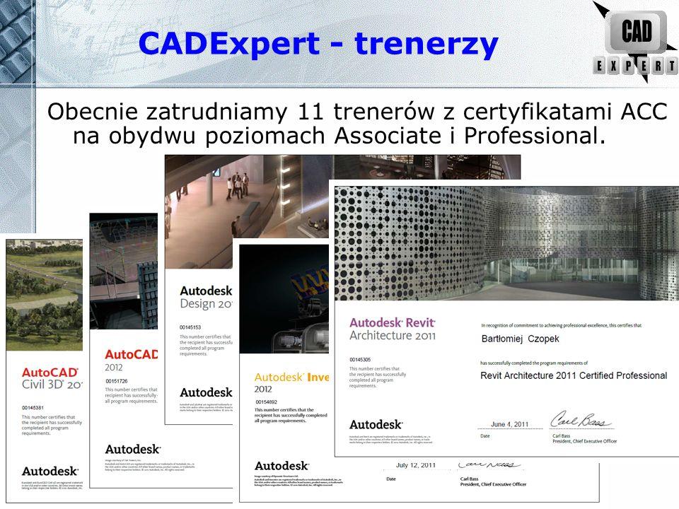CADExpert - trenerzy Obecnie zatrudniamy 11 trenerów z certyfikatami ACC na obydwu poziomach Associate i Profes s ional.