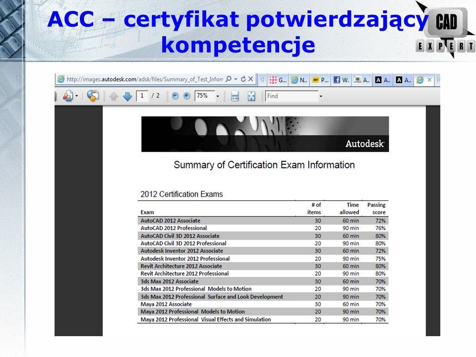 ACC – certyfikat potwierdzający kompetencje