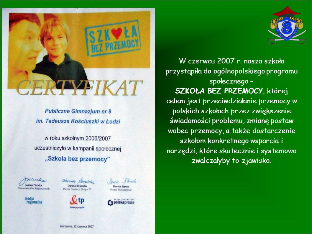 Nasze Gimnazjum brało udział w programie Szkoła z klasą - Czytam, Myślę, Działam .