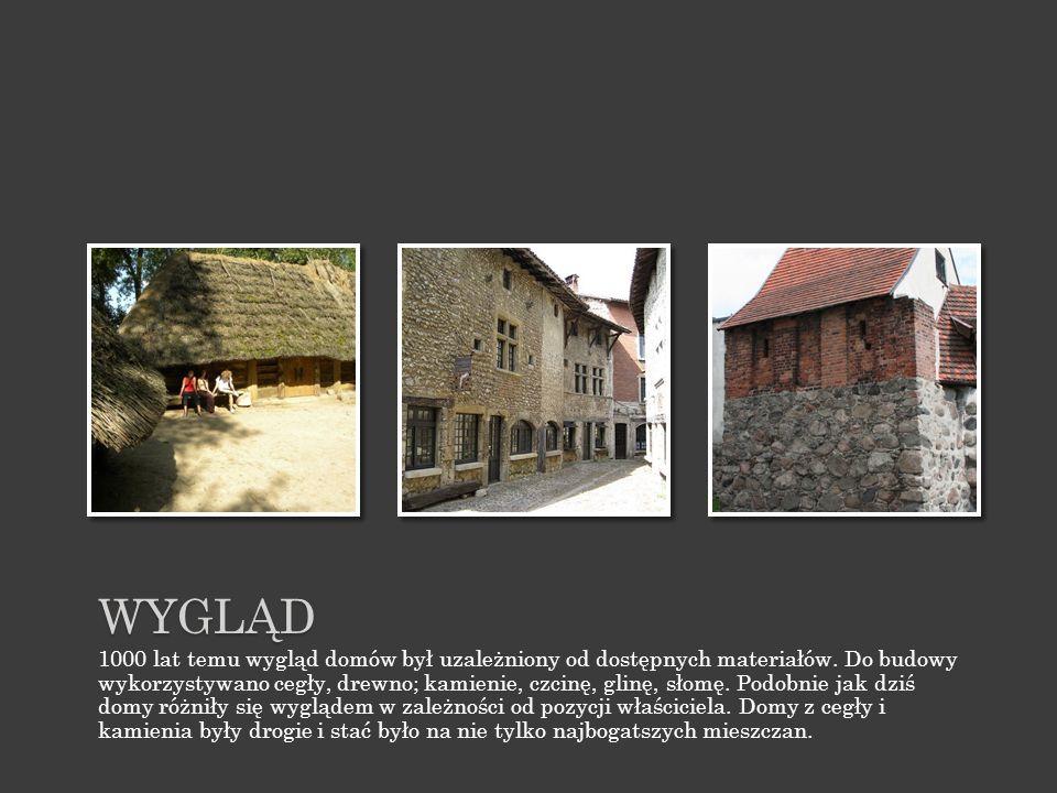 WYGLĄD 1000 lat temu wygląd domów był uzależniony od dostępnych materiałów.