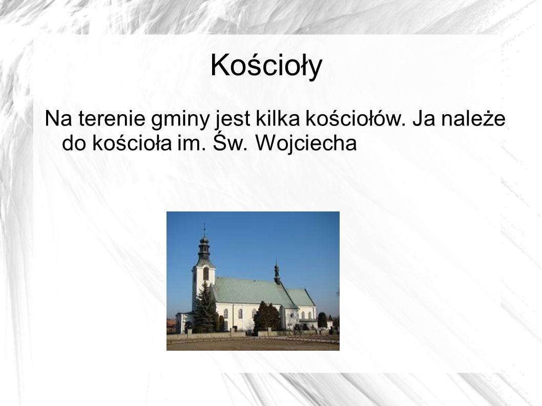 Kościoły Na terenie gminy jest kilka kościołów. Ja należe do kościoła im. Św. Wojciecha