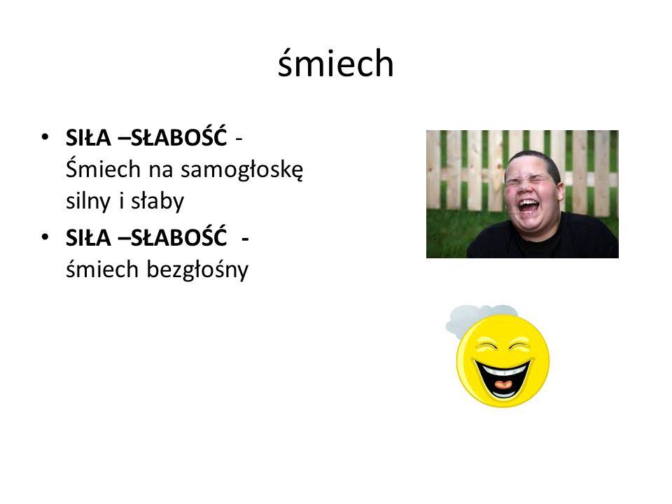 śmiech SIŁA –SŁABOŚĆ - Śmiech na samogłoskę silny i słaby SIŁA –SŁABOŚĆ - śmiech bezgłośny