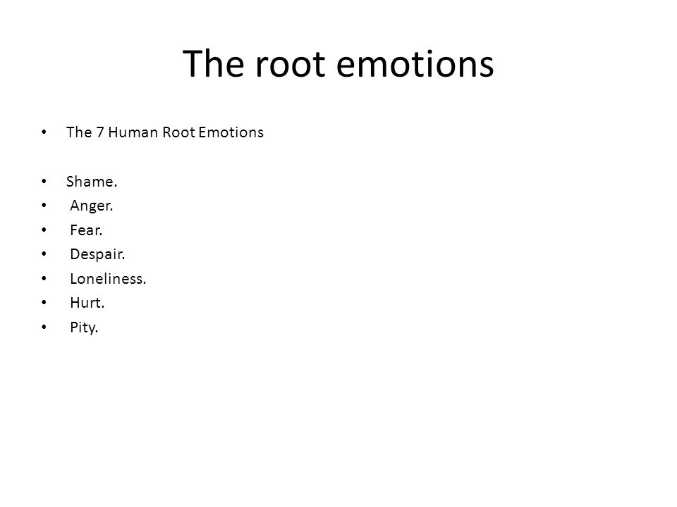 The root emotions The 7 Human Root Emotions Shame. Anger. Fear. Despair. Loneliness. Hurt. Pity.