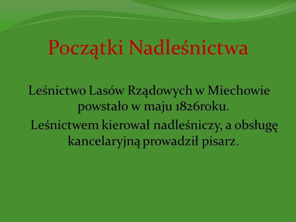 Początki Nadleśnictwa Leśnictwo Lasów Rządowych w Miechowie powstało w maju 1826roku. Leśnictwem kierował nadleśniczy, a obsługę kancelaryjną prowadzi