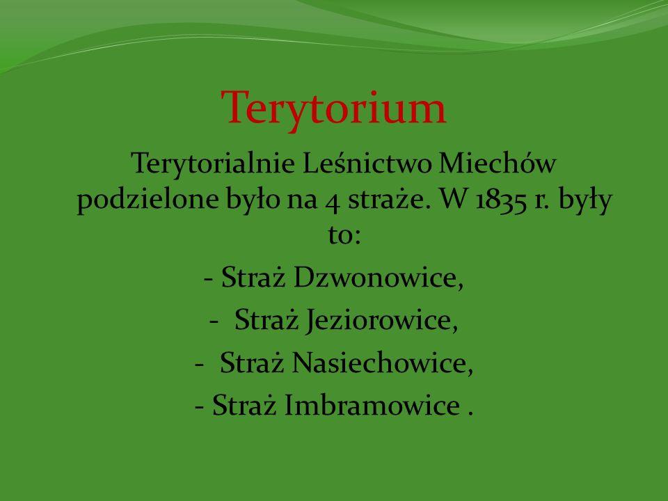 Terytorium Terytorialnie Leśnictwo Miechów podzielone było na 4 straże. W 1835 r. były to: - Straż Dzwonowice, - Straż Jeziorowice, - Straż Nasiechowi