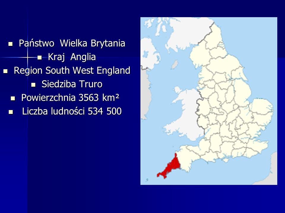 Państwo Wielka Brytania Państwo Wielka Brytania Kraj Anglia Kraj Anglia Region South West England Region South West England Siedziba Truro Siedziba Truro Powierzchnia 3563 km² Powierzchnia 3563 km² Liczba ludności 534 500 Liczba ludności 534 500