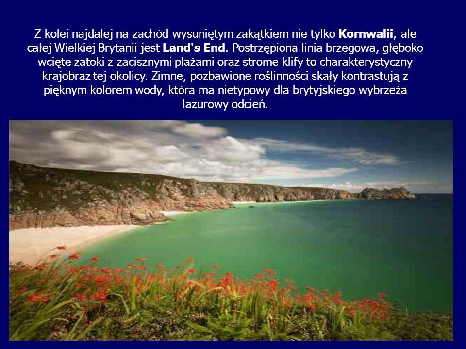 Z kolei najdalej na zach ó d wysuniętym zakątkiem nie tylko Kornwalii, ale całej Wielkiej Brytanii jest Land's End. Postrzępiona linia brzegowa, głębo