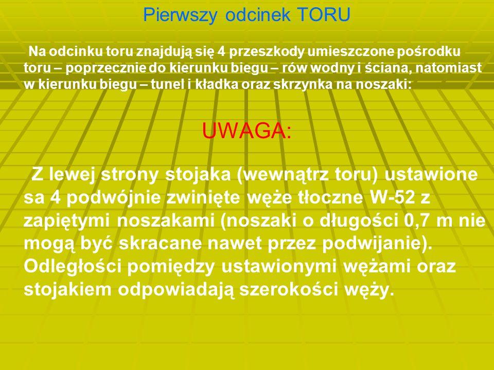 Pierwszy odcinek TORU Na odcinku toru znajdują się 4 przeszkody umieszczone pośrodku toru – poprzecznie do kierunku biegu – rów wodny i ściana, natomiast w kierunku biegu – tunel i kładka oraz skrzynka na noszaki: UWAGA: Z lewej strony stojaka (wewnątrz toru) ustawione sa 4 podwójnie zwinięte węże tłoczne W-52 z zapiętymi noszakami (noszaki o długości 0,7 m nie mogą być skracane nawet przez podwijanie).
