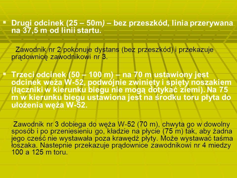   Drugi odcinek (25 – 50m) – bez przeszkód, linia przerywana na 37,5 m od linii startu.