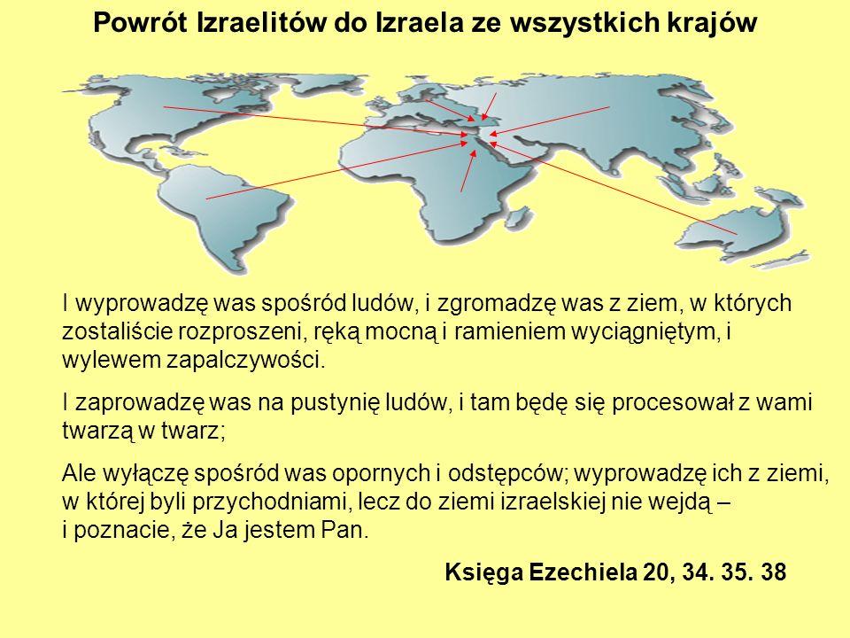 Powrót Izraelitów do Izraela ze wszystkich krajów I wyprowadzę was spośród ludów, i zgromadzę was z ziem, w których zostaliście rozproszeni, ręką mocn