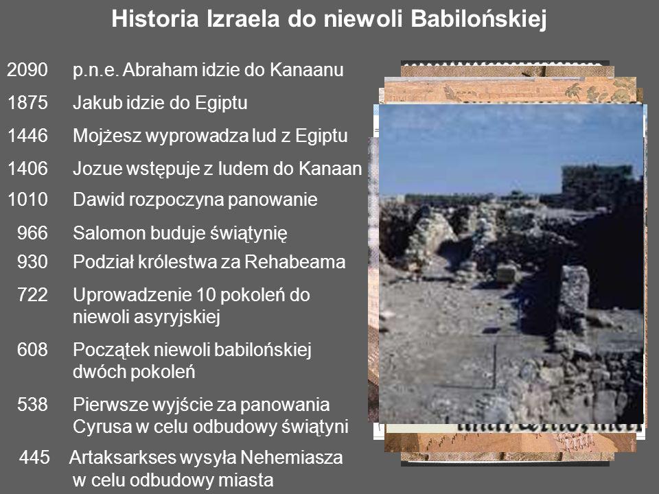 Historia Izraela do niewoli Babilońskiej 2090p.n.e. Abraham idzie do Kanaanu 1875 Jakub idzie do Egiptu 1446Mojżesz wyprowadza lud z Egiptu 1406Jozue