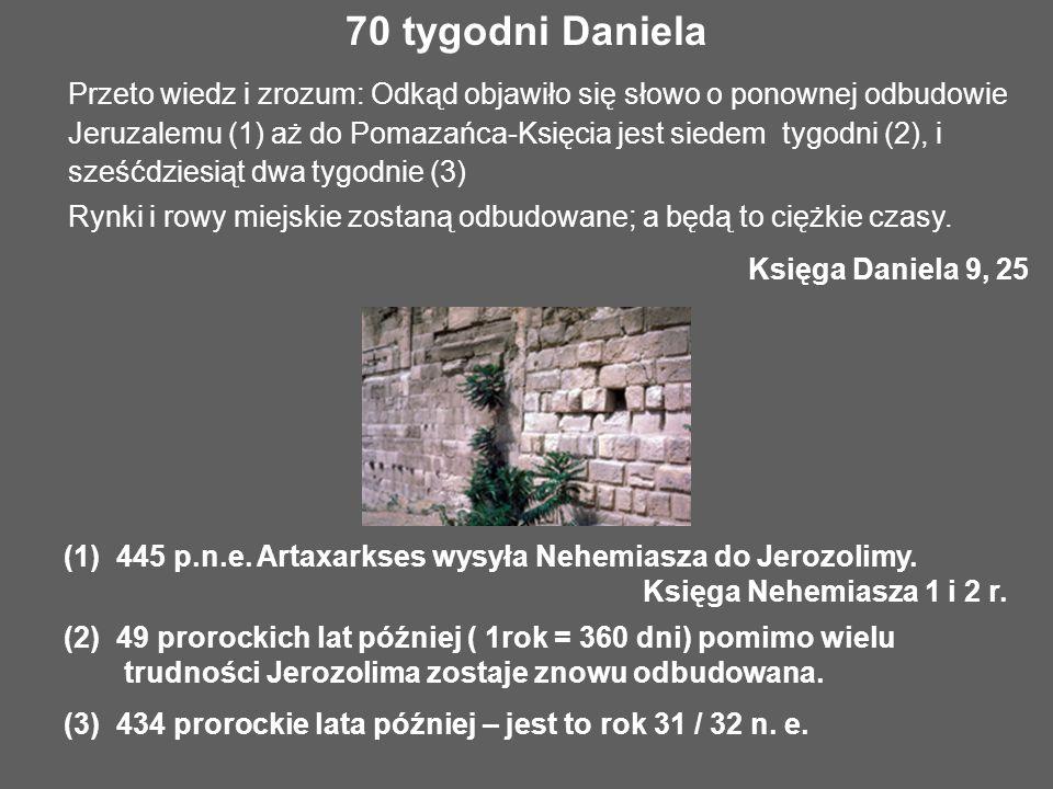 Przeto wiedz i zrozum: Odkąd objawiło się słowo o ponownej odbudowie Jeruzalemu (1) aż do Pomazańca-Księcia jest siedem tygodni (2), i sześćdziesiąt d