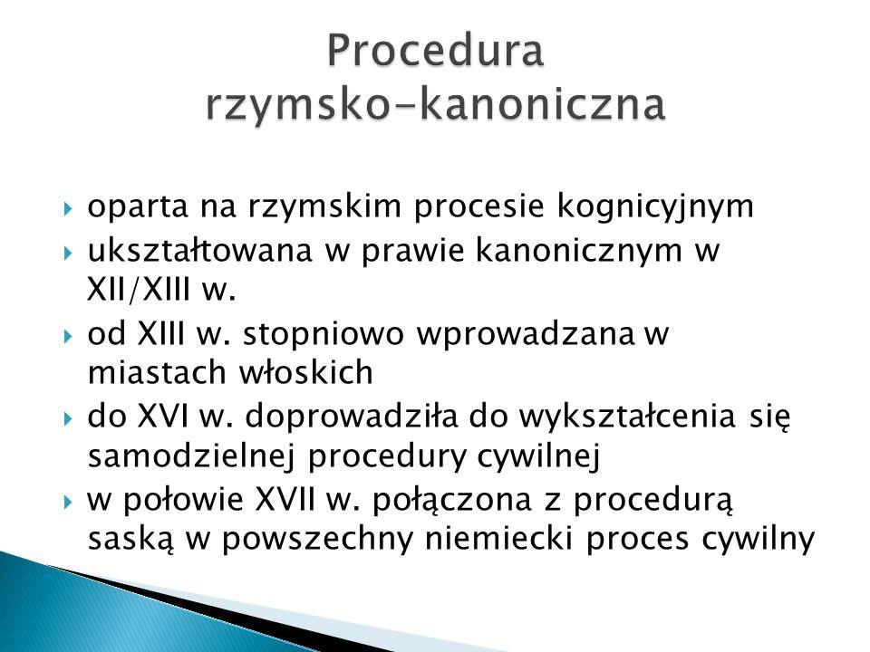  oparta na rzymskim procesie kognicyjnym  ukształtowana w prawie kanonicznym w XII/XIII w.