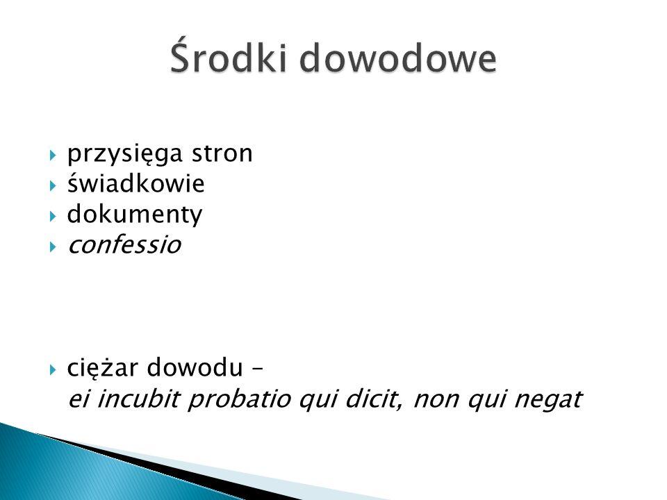  przysięga stron  świadkowie  dokumenty  confessio  ciężar dowodu – ei incubit probatio qui dicit, non qui negat