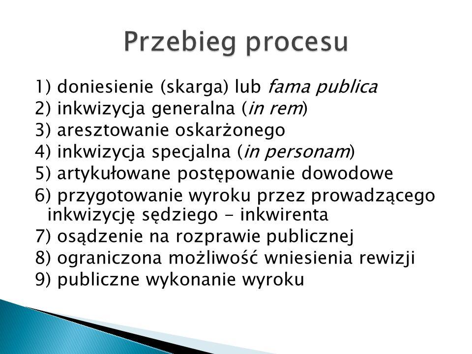 1) doniesienie (skarga) lub fama publica 2) inkwizycja generalna (in rem) 3) aresztowanie oskarżonego 4) inkwizycja specjalna (in personam) 5) artykułowane postępowanie dowodowe 6) przygotowanie wyroku przez prowadzącego inkwizycję sędziego - inkwirenta 7) osądzenie na rozprawie publicznej 8) ograniczona możliwość wniesienia rewizji 9) publiczne wykonanie wyroku