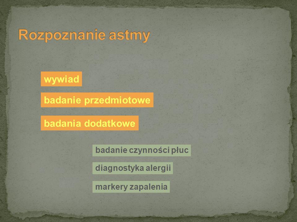 wywiad badanie przedmiotowe badania dodatkowe badanie czynności płuc diagnostyka alergii markery zapalenia