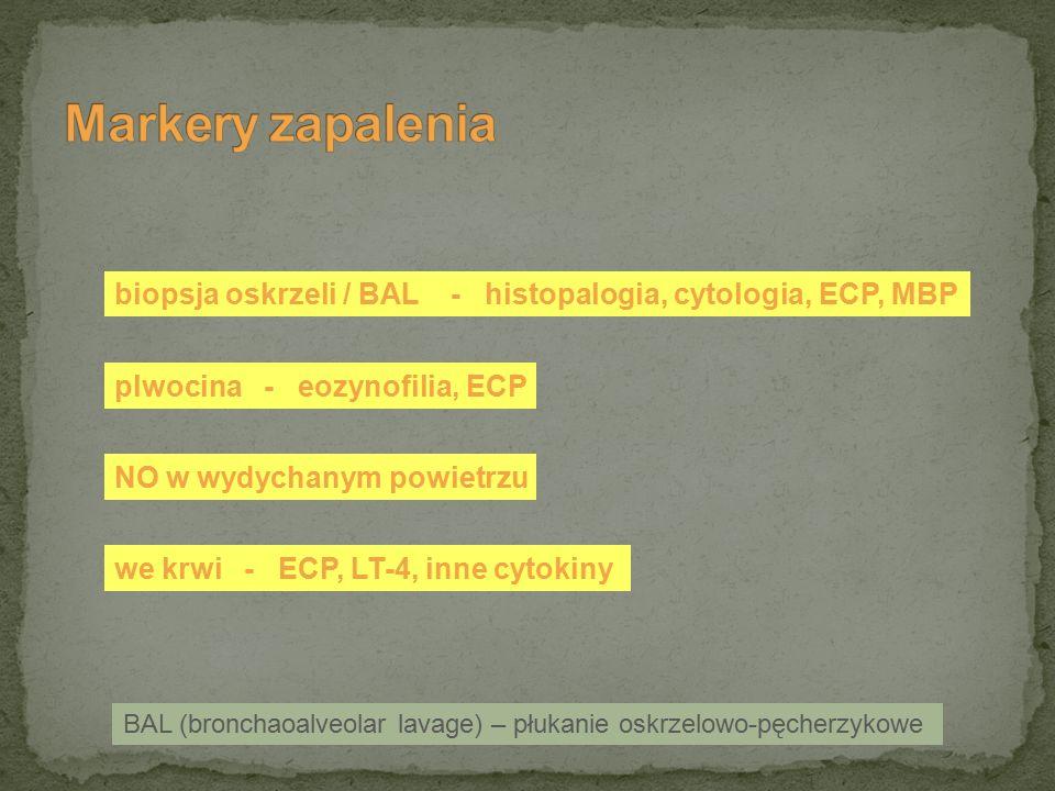 BAL (bronchaoalveolar lavage) – płukanie oskrzelowo-pęcherzykowe biopsja oskrzeli / BAL - histopalogia, cytologia, ECP, MBP plwocina - eozynofilia, EC